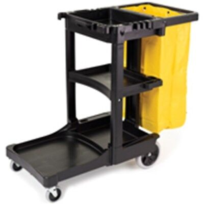 Rubbermaid FG617388BLA Cleaning Cart with Zippered Yellow Vinyl Bag