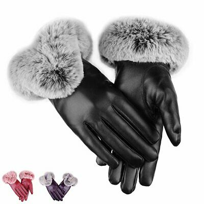 Womens Ladies Touch Texting Screen Driving Gloves Warm Leather Winter Thermal