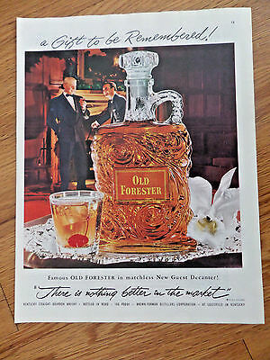 1952 Kentucky Old Forester Whiskey Ad In Matchless New Guest Decanter