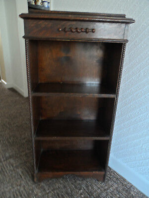 Vintage   Mahogany 3 Shelf Book Case  With Scroll & Wood Beading On Sides
