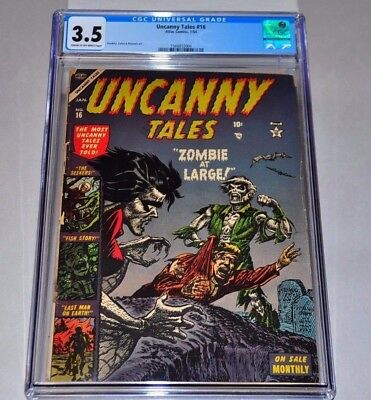 Uncanny Tales 16 CGC 3.5 CR/OW Pages Zombie Cover Pre-Code Horror