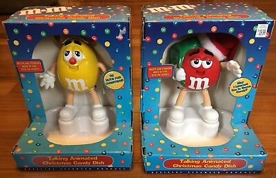 Lot of 2 M&M TALKING ANIMATED CHRISTMAS CANDY DISHES: Red SANTA & Yellow NEW
