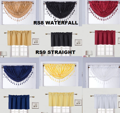 1Pc Valance Swag Rod Pocket Foam Lined Blackout Window Dressing Curtain Decor