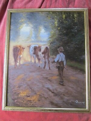 Beautiful Vintage D Long Listed Oil Canvas Painting Pastoral Scene Signed Framed