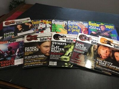 Guitar Player Magazines  Lot Of 10 Brit Pop Tom Petty Zappa Brian Seltzer Davies