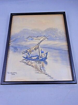 Handpainted Vintage Chinese Watercolour Boat on River by Suratin 23x28cm framed