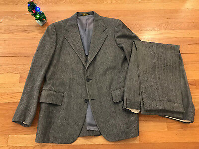 Vintage Norman Hilton Tweed Suit 42S Herringbone Wool