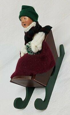 Byers Choice Carolers lady in Sled 1997