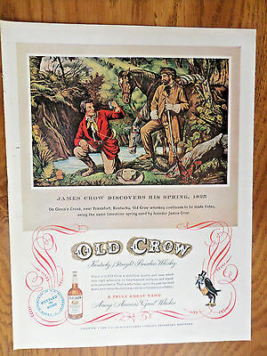 1952 Old Crow Whiskey Ad Glenn's Creek Frankfort KY Discovers his Spring 1825