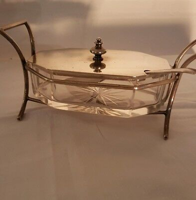 Lovely Antique Silver Plated Glass Butter Dish & Knife. John Sherwood & Son