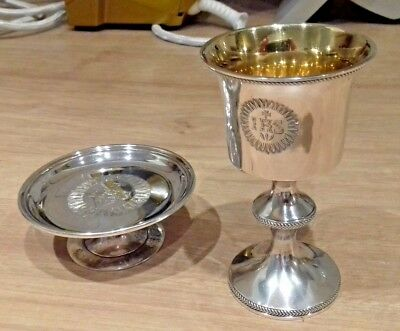 Rare antique 1800's hallmarked silver chalice and paten Robert Hennell London