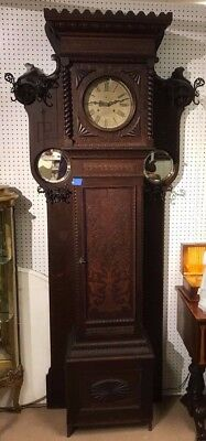 Magnificent Oak Grandfather Clock/Hall Rack