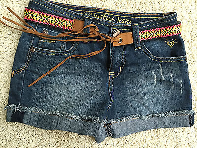 NWOT Justice Rolled Look Jean Shorts Removable Belt CUTE!! Size 8R School! RV$42