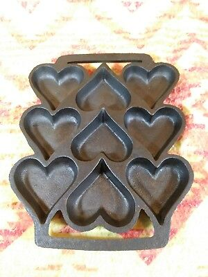 Vintage Cast Iron Hearts Gem Pan Brownie Candy Griswold? Wagner? Lodge? Bsr?