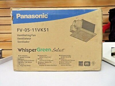 Panasonic FV-0511VKS1 WhisperGreen Ceiling Mount Vent Fan, 50-80-110 CFM NEW