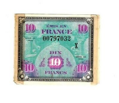 French WWII Banknote 1944 Series DE 10 Francs LOW SERIAL NUMBER 00797032