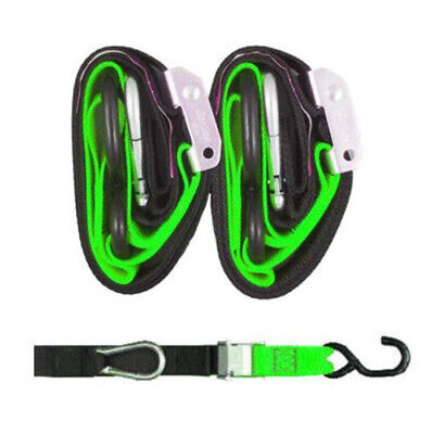 Heavy Duty Motorcycle Tie Downs - Handlebar Loop Strap & Snap Hook - Black/green