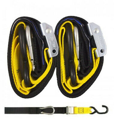 Heavy Duty Motorcycle Tie Downs - Handlebar Loop Strap & Snap Hook - Black/yello