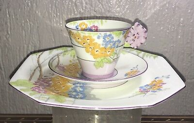 4) Deco Royal Paragon China Maytime Majesty Queen Cup Saucer & Luncheon Plate