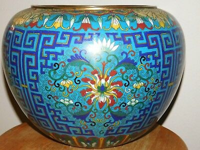 """BEAUTIFUL Antique CHINESE EARLY REPUBLIC PERIOD CLOISONNE PLANTER; 12 5/8"""" Dia."""