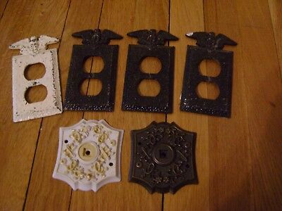 4 Vintage Bronze Eagle Pounded Metal Electric Outlet Covers  & 2 Door Knob Plate