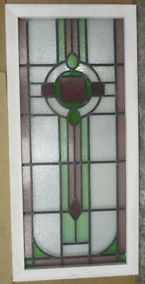 """LARGE OLD ENGLISH LEADED STAINED GLASS WINDOW Circle Geometric Abs. 20"""" x 42.25"""""""