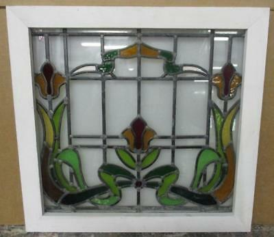 MID SIZED OLD ENGLISH LEADED STAINED GLASS WINDOW Nice Floral Ribbon 23.25 x 22""
