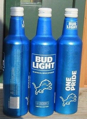 2017 Bud Light NFL Kickoff Detroit Lions Aluminum Bottle Beer Can #503071 Empty.