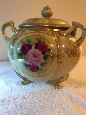 """Antique """"NIPPON"""" Footed Bowl w/Lid"""