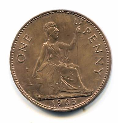 Great Britain 1963 Large One Penny Coin - United Kingdom England Queen Elizabeth
