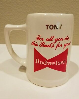 "Tony Bennett Stein Porcelain Budweiser 1983 ""For all you do,this Buds for you"""