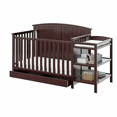 Child Convertible Crib And Changer 4 In 1 Baby Cot With Drawer Changing Table