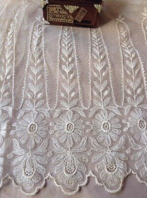 """Antique French Tambour Net Lace Curtain Drapery 2 Panels  Floral Crest  40"""""""