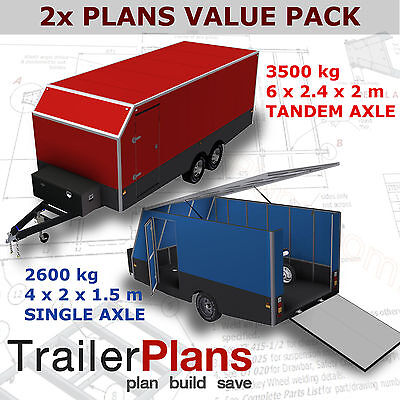 Trailer Plans-6m ENCLOSED & 4m ENCLOSED MOTORBIKE TRAILER PLANS-Printed Hardcopy
