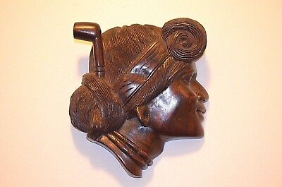 """Vintage Brown Wood Carved Women's Igorot Head Wall Hanging Plaque 8.5"""" x 8.5"""""""