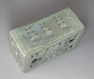 A Very Rare/Fine Korean Inlaid and Open-Work Celadon Pillow-12th C.: