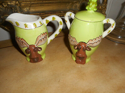 Retired 2009 Brawnson The Moose Sugar & Creamer, Blue Sky