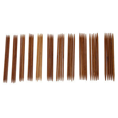 5 Sets of 11 Sizes 5'' (13cm) Double Pointed Carbonized Bamboo Knitting Kit E2H7