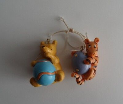 Disney Miniature Winnie the Pooh Easter Ornaments Tigger & Pooh With Egg Lot 2