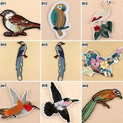 Embroidered Sew On Patches Animals Birds Transfer Fabric Bag Clothes Applique
