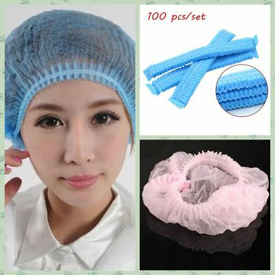 New 100pcs Disposable Head Cover Mob Cap Hat Hair Net Non Woven Anti Dust Hats