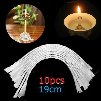 "7.5"" Glass Replacement White Fiberglass Wick Holders Oil Candle Wicks 3mm Width"