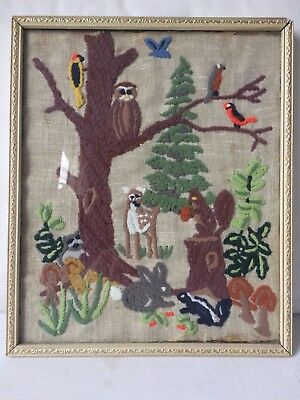 wool embroidery on linen, birds, rabbit, squirrel, framed