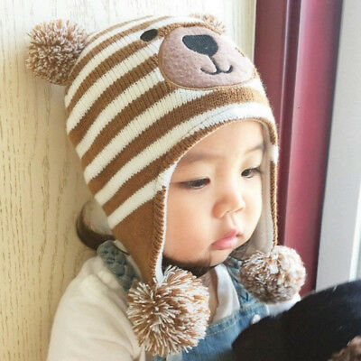2017 Kid Baby Girl Boy Toddler Winter Warm Knitted Beanie Hat-Caps Earmuffs Ball