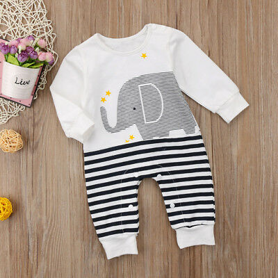 Kids Baby Girls Boy Elephant Long Sleeve Romper Jumpsuit Outfits Cotton Clothes
