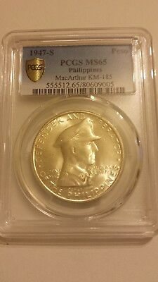 Philippines 1946 Pcgs Ms65 One Peso !!!