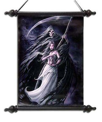 """Anne Stokes Scroll """"summon The Reaper"""" Gothic Reaper With Maiden"""