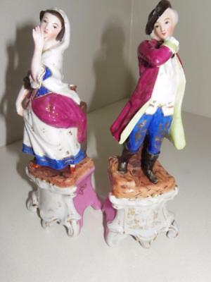 Antique Dresden German Pair of Figurines/Vases C.1850 in Traditional Dress 24cm