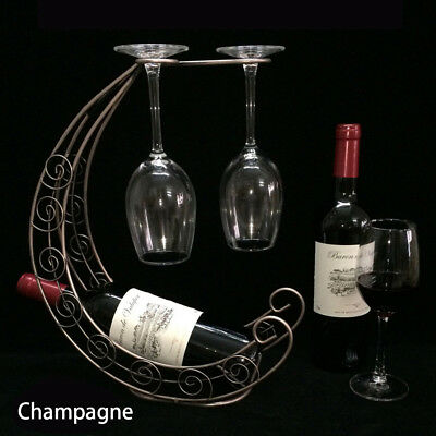 Metal Wine Rack Bottle Glass Cups Holder Modern Retro Table Support Organizer