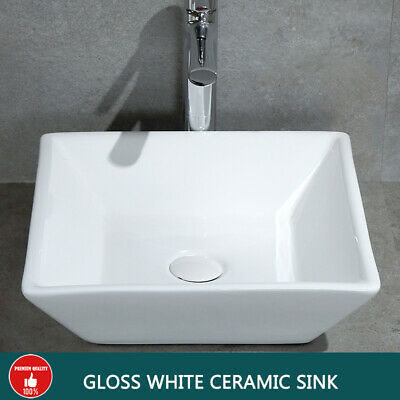 Gloss Ceramic Square Basin Above Counter Top Vanity Rectangle Sink Bowl Bathroom